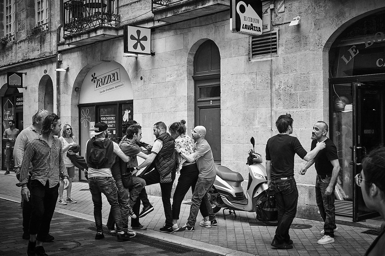 woman kicking in street